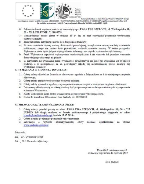 """""""IZBA CHLEBA - TRADYCYJNA LETNIA KUCHNIA WIEJSKA W SOBIBORZE"""" - zaproszenie do składania ofert."""